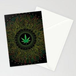 Magic plant. Marijuana leaf. mandala Stationery Cards