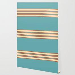 70s Style Blue Beige Orange Retro Stripes Radha Wallpaper