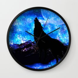 NIGHT WOLF Wall Clock