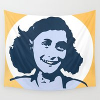 frank Wall Tapestries featuring Anne Frank by mark ashkenazi