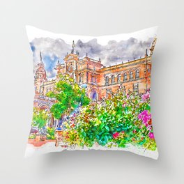 Plaza de Espana, Seville Throw Pillow