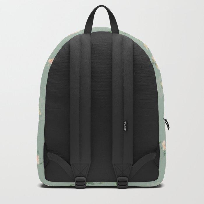 Sweet pea botanical pattern in green Backpack