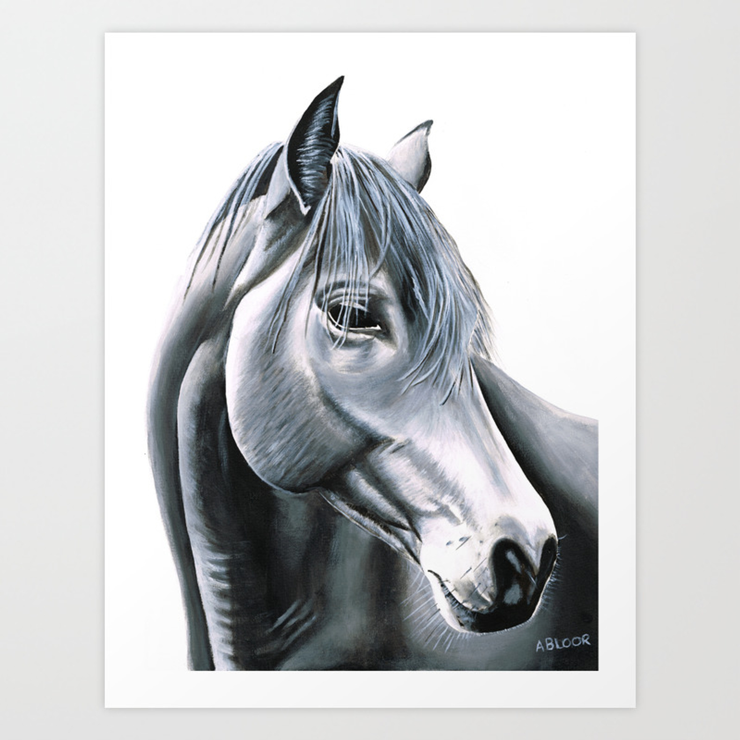 Black And White Horse Digital Download Art Print Acrylic Painting By Anne Marie Bloor Scandinavian Art Print By Anne Marieart Society6