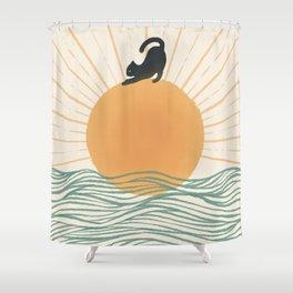 Good Morning Meow 7 Sunny Day Ocean  Shower Curtain