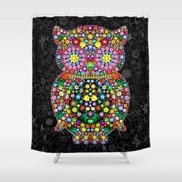 Owl Zentangle Floral   Shower Curtain