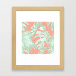 Island Love Coral Pink + Light Green Framed Art Print