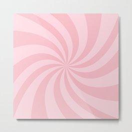 Pink Retro Swirl Metal Print