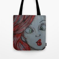 little mermaid Tote Bags featuring Little mermaid by Nichola irvine art