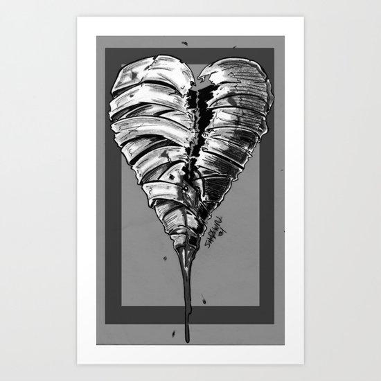 Razor Blade Romance (Black and White Version) Art Print