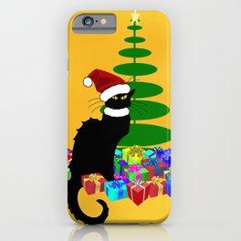 Christmas Le Chat Noir With Santa Hat iPhone Case