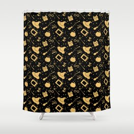 Magic symbols (black) Shower Curtain