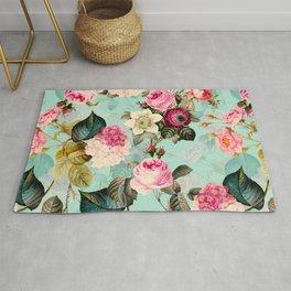 Vintage & Shabby Chic - Summer Teal Roses Flower Garden Rug