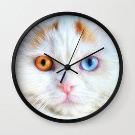Odd-Eyed White Persian Kitten Wall Clock