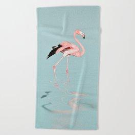 Flamingo on turquoise waters Beach Towel