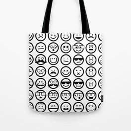 Black and White Emoticons Tote Bag