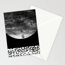 Maru - moon abstract painting texture black and white monochromatic urban brooklyn nature city Stationery Cards