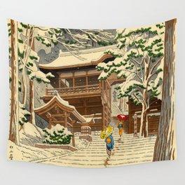 Asano Takeji Snow In Yuki Shrine Vintage Japanese Woodblock Print East Asian Beautiful Art Wall Tapestry