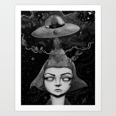 Thought Invaders (black and white version) Art Print