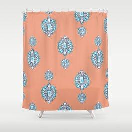 Jewelbox: Aquamarine Brooch on Coral Spice Shower Curtain