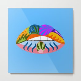 Lips with bold abstract patterns, blue retro pop art illustration Metal Print