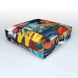 Mosaic - retro space travel Outdoor Floor Cushion