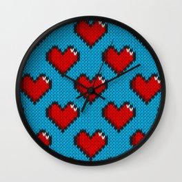 Knitted heart pattern - blue Wall Clock