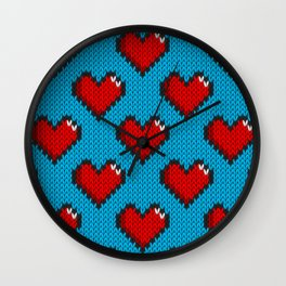 Knitted heart pattern - blue Wall Clock