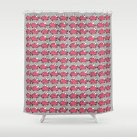 pigs Shower Curtains featuring Flying Pigs by Adrian Roman