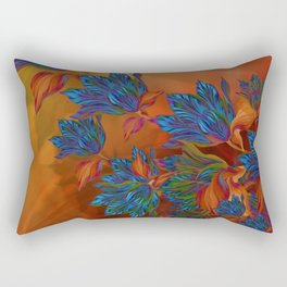 """Blue flowers on orange silk"" (Air Spring at night) Rectangular Pillow"