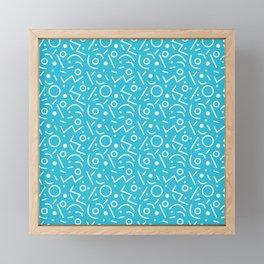 Sky blue and white Memphis pattern Framed Mini Art Print