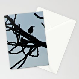 Sparrows Silhouette Birds Tree Bare Branches Stationery Cards