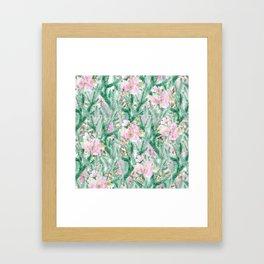 Blush pink  green pine tree modern floral Framed Art Print