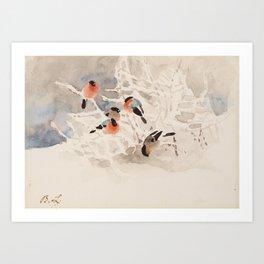 BRUNO LILJEFORS, BULLFINCHES IN A WINTER LANDSCAPE. Art Print