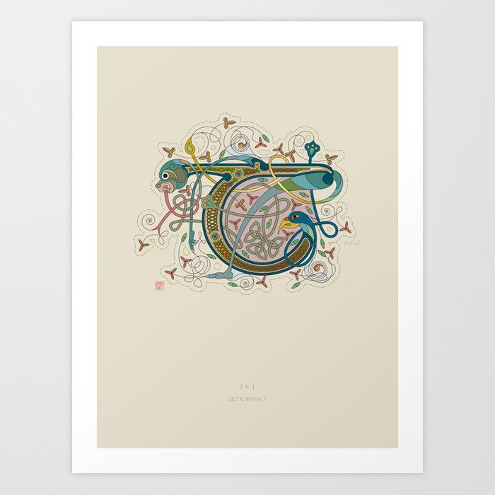 Celtic Initial T Art Print