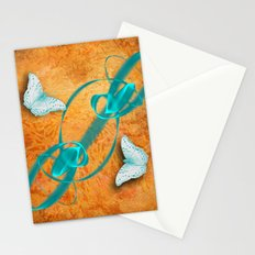 blue butterflies in abstract landscape Stationery Cards