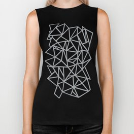 Abstract Outline Thick White on Grey Biker Tank