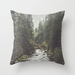 Mountain creek - Landscape and Nature Photography Throw Pillow