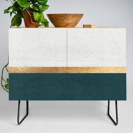 Deep Green, Gold and White Color Block Credenza