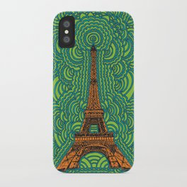 Eiffel Tower Drawing Meditation - orange/green/blue iPhone Case