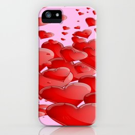 RED CANDY VALENTINE HEARTS IN PINK ART iPhone Case