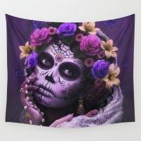 dia de los muertos Wall Tapestries featuring Dia De Los Muertos by Cellesria /Tanya Varga - Digital Artist