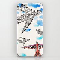 airplane iPhone & iPod Skins featuring Airplane by Beatriz Chamussy