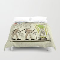 yetiland Duvet Covers featuring hero-glyphics: Slimed by Josh Ln