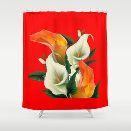 RED & WHITE-ORANGE CALLA LILIES GREY-GOLDEN GARDEN Shower Curtain