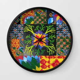 collage of math book paper- painted leaves  Wall Clock