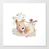 craftberrybush Canvas Prints featuring Watercolor Christmas fawn by craftberrybush