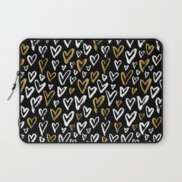 Black White and Gold Hearts Laptop Sleeve