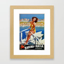 Vintage Marina di Massa Italian travel advertising Framed Art Print