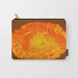 Golden Orange Poppy Flower Brown -Black Abstract Art Carry-All Pouch