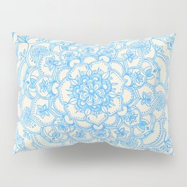 Pale Blue Pencil Pattern - hand drawn lace mandala Pillow Sham